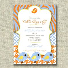 Baby Boy Shower Invitation Modern Bird Blue Tangerine orange animal print - Printable by girlsatplay  girls at play. $12.00, via Etsy.