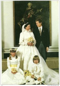 Wedding portrait of Princess Margaretha of Luxembourg and groom Prince Nikolaus of Liechenstein. Prince Nikolaus is the son of Sovereign Prince Franz Joseph II. Royal Wedding Gowns, Wedding Wows, Royal Weddings, Wedding Bride, Wedding Dresses, Casa Real, Royal Life, Royal House, Royals