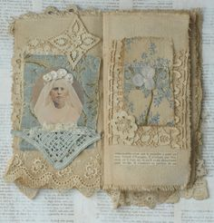 Mixed Media Fabric Collage Book of Girls in Heavenly White | eBay