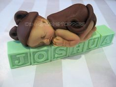 Baby Shower First Birthday FONDANT BABY brown door DinasCakeToppers, $25,00