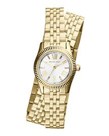MICHAEL Michael Kors Michael Kors Petite Golden Stainless Steel Double-Wrap Lexington Three-Hand Watch