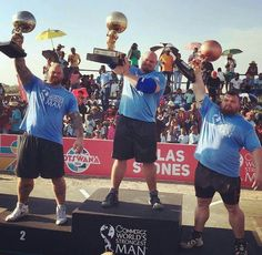 The reigning defending and 4x World's Strongest Man 2016 Brian Shaw flanked by Hafthor 'Thor' Bjornsson and Eddie 'The Beast' Hall