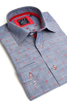 Grey dress shirt with red dots by Franck Michel