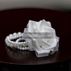 Wrist corsage simple white rose on a pearl by TheBridalFlower