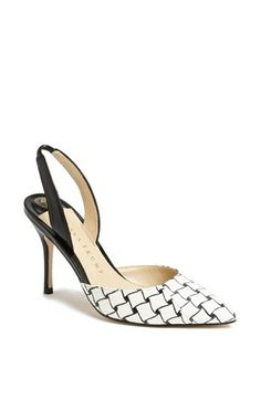 ivanka trump black and white slingback pointy toe pumps {40% now during Nordstrom's Half Yearly Sale!!}