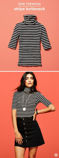 Fall wardrobe, solved. One of this season's hottest trends is the timeless turtleneck in classy, chic stripes. Flattering and form-fitting, it pairs just as perfectly with distressed denim as it does with a simple A-line mini. If you only add one piece to the closet this fall, this might have to be it.