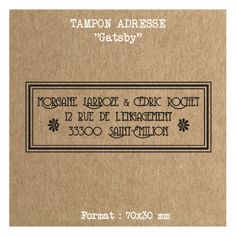 Tampon mariage adresse personnalisé - Gatsby -