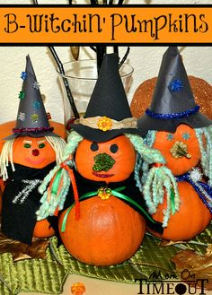 B-Witchin Pumpkins are the perfect Halloween craft project for you OR the kids!  Easy to make and just too adorable!! | MomOnTimeout.com #Halloween #witch #craft