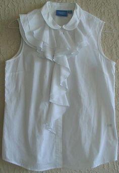 Simply Vera by Vera Wang White Blouse Top Ruffles Size 12