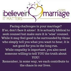 One of the BIGGEST lies we tell ourselves in marriage is that we shouldn't talk to anyone about what is going in our marriage! THAT is dangerous. You and your spouse absolutely should consider counsel...just make sure it is WISE counsel!  Remember for daily inspiration follow our new Instagram: @ibelieve_inmarriage #Marriagemondays #Ibelieveinmarriage #Robinmayonline #IStillDo  #ChristianCouples #Marriagematters  #marriagematerial #whenbffisbae