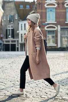 Photo via: Fash n Chips Inspired to break out of my black coat rut with a textured blush pink coat (yet again) thanks to this casual cool winter look from Christine. Get the look: + 1717 Olive Lofty R