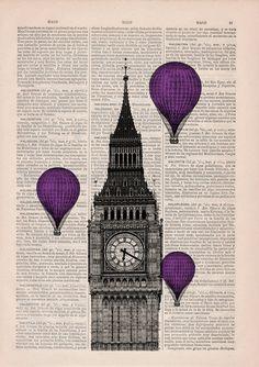 Vintage Book Print London Big Ben Tower Violet Balloon by PRRINT