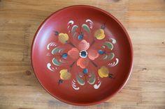 Handpainted Norwegian Rosemaling Wooden Dish-Mid Century