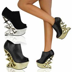 LADIES WOMENS PLATFORM CUT OUT HIGH HEEL PEEP TOE PARTY SHOES ANKLE BOOTS SIZE
