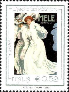 Art of poster. Emiddio and Alfonso Mele, Napoli. Italian post stamp, circa 2003