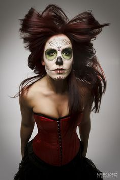 "diadelosmuertosmask: "" I like the noticable absence of makeup around the eyes instead of being completely filled in black. sort of the opposite of what women typically do for daily makeup. and that hair stylist deserves the Nobel Prize in physics...."