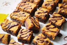 Happy Halloween – Kürbis-Schoko-Brownies Happy Halloween, Vegan, Veggies, Sweet, Recipes, Cacao Powder, Bakken, Candy, Vegetable Recipes