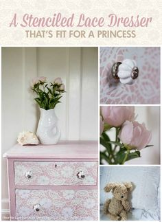A Stenciled Lace Dresser That's Fit for a Princess - DIY Tutorial Painting with Royal Design Studio Furniture Stencils