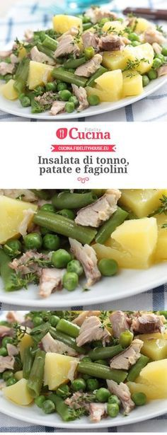 Insalata di tonno, patate e fagiolini - Recipes, tips and everything related to cooking for any level of chef. Light Recipes, Wine Recipes, Salad Recipes, Cooking Recipes, Healthy Recipes, Antipasto, I Love Food, Good Food, Planning Menu