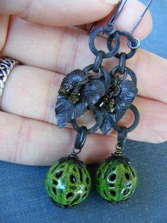 Falling Leaves Earrings:  Green Enameled Filigree Beads Dark Brass Leaves. $28.00, via Etsy.