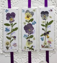 Pansy Bookmarks, pressed flower bookmarks, laminated bookmarks, little pieces of art, keepsake gifts by PatsysPressedFlowers on Etsy