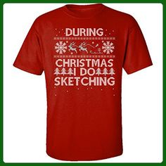 During Christmas I Do Sketching Hobbies Ugly Sweater - Adult Shirt L Red - Holiday and seasonal shirts (*Amazon Partner-Link)
