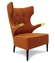 SIKA Modern Upholstered Armchair breathes elegance from Japan with brown synthetic leather. #BRABBU #Armchair #livingroom http://www.brabbu.com/en/upholstery/sika-armchair.php