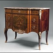 Late 19th C. Louis XV Floral Inlaid Bronze Mounted Commode