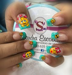 Uñas emoticones Disney Acrylic Nails, Kawaii Nail Art, Wow Nails, Finger, Nails Inspiration, Summer Nails, Sweet 16, Pedicure, Nail Art Designs