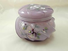 OOAK Fenton Violet Overlay WAVECREST Candy Box HP PANSIES by STACY WILLIAMS