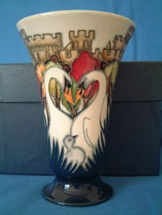 Moorcroft Trail Royal Swans Vase 87 6 Perfect | eBay