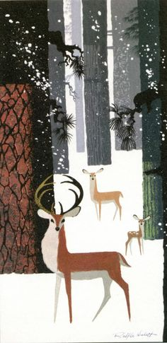 Winter Wonderland by Disney artist Ralph Hulett. Buck, doe, and fawn.