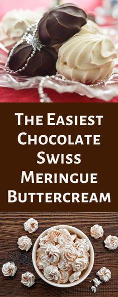 The Easiest Chocolate Swiss Meringue Buttercream - Cake Decorist Delicious Cake Recipes, Best Cake Recipes, Yummy Cakes, Favorite Recipes, Yummy Food, Best Frosting Recipe, Frosting Recipes, Chocolate Swiss Meringue Buttercream, Buttercream Cake