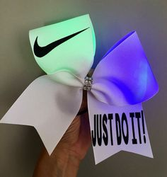 Just Do It Light up color changing cheer bow Swoosh
