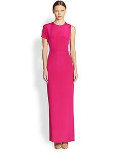 Akris Asymmetrical+Silk+Crepe+Gown worn by Princess Charlene in 2014