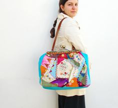 Crazy Patchwork Bag  Vintage Embroidery Lace trims by StarBags, $180.00