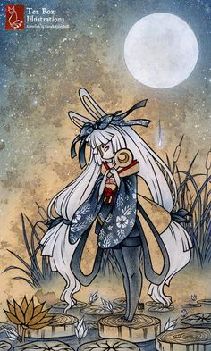 Miri / Moon Rabbit Bunny Youkai / Japanese by TeaFoxIllustrations, $20.00