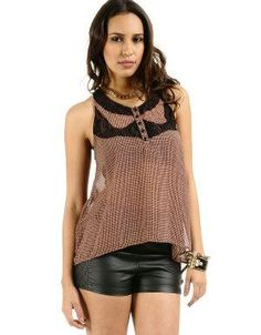 Scribbled High-Low Blouse Pink. Whether you wear this tucked in or loose, it looks great with jeans or shorts. Accessorize with stacked bracelets. Featuring back and front lace inserts.. See More Blouses and Shirts at http://www.ourgreatshop.com/Blouses-Shirts-C78.aspx
