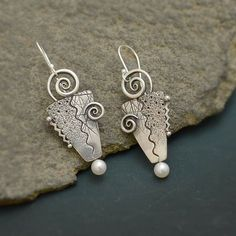 RESERVED Sterling Silver Dangle Twirl Textured Earrings with Fresh Water Pearls French Earwires