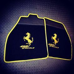 ferrari 458 yellow and black interior floor mats