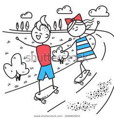 Стоковая иллюстрация «Happy Guy Girl Skateboarding Fun Trip», 1649850454