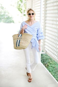 """NORMA KAMALI Sunglasses // LES BONBONS Earrings // STYLEKEEPERS Top // J BRAND Jeans // Straw Tote // ALEXANDRA JULES """"Skinni"""" Ring // HERMÉS Sandals (similar here and here) // CHANEL N…"""