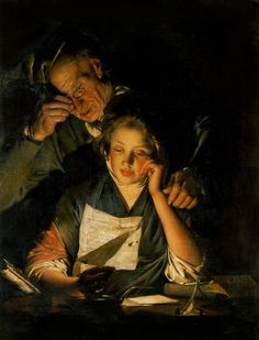 A Girl reading a Letter, with an Old Man reading over her shoulder, 1770, Joseph Wright of Derby. English, (1734-1797)