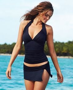La Blanca Swimsuit, Halter Ruched Tankini Top & Banded Skirted Swim Bottom - Swimwear - Women - Macy's