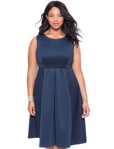 ELOQUII Plus Size Structured Fit and Flare Dress From The Plus Size Fashion Community On www.VintageAndCurvy.com