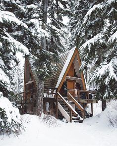 winter cabin in the
