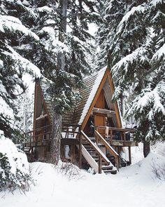 winter cabin in the
