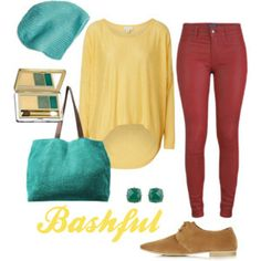 Bashful   Disney Inspired Outfits yellow loose float shirt. Red skinny jeans. Beanie.