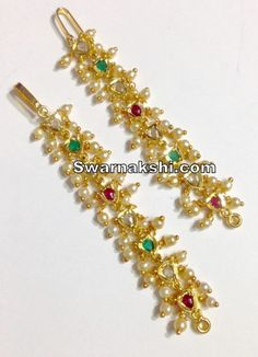1 gram gold matilu ear chains ruby emerald oval model collection - Swarnakshi Jewels And Accessories Nose Ring Jewelry, Jewelry Design Earrings, Gold Earrings Designs, Necklace Designs, Ruby Jewelry, India Jewelry, Nose Rings, Ear Rings, Gold Bangles Design