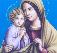 Icon of St Anne and Saint Mary--It was the example of Anne that Mary must have followed as she brought up her own son, Jesus. It was the faith of her parents that laid the foundation of courage and strength that allowed her to stand by the cross as her son was crucified and still believe.   Such parents can be examples and models for all parents.   Anne (or Ann) is the patron saint of Christian mothers and of women in labor.